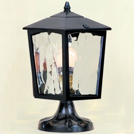 Grosvenor - Pillar Mount Lantern - Black - E27