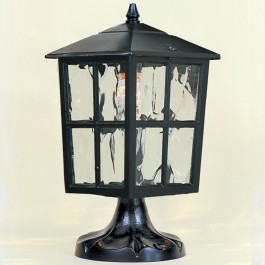 Balmoral - Pillar Mount Lantern - Black - E27