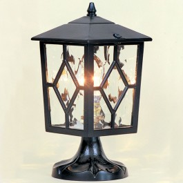 Royale - Pillar Mount Lantern - Black - E27