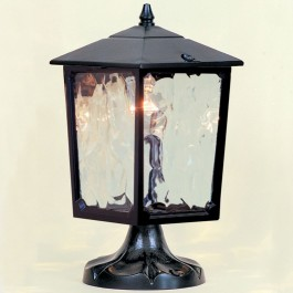 Victorian - Pillar Mount Lantern - Black - E27