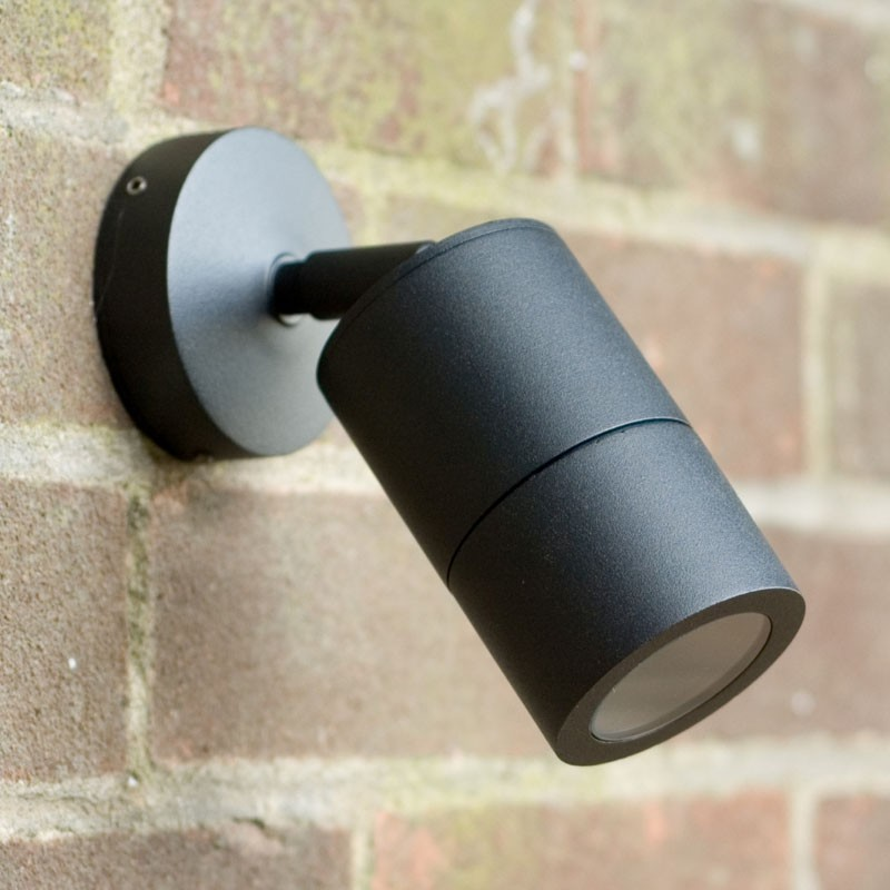 Compact Outdoor Wall Spotlight - Black - 240v GU10