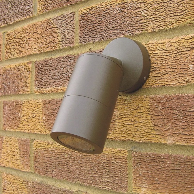 Compact Outdoor Wall Spotlight - Rustic Brown - 240v GU10