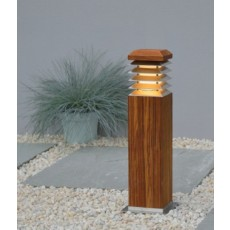 Elipta Stratus 45 Bollard Light with Angled Louvres - Teak