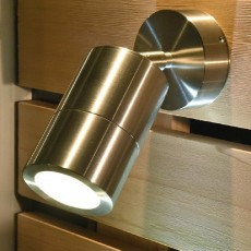 Compact Outdoor Wall Spotlight - Stainless Steel - 12v MR16