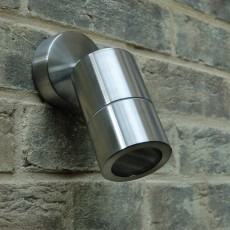 Elipta Compact Outdoor Wall Spotlight - Stainless Steel - 240v GU10