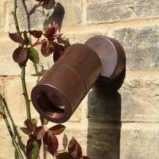 Compact Outdoor Wall Spotlight - Copper - 240v GU10