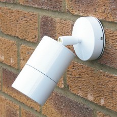 Compact Outdoor Wall Spotlight - White - 240v GU10