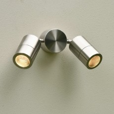 Elipta Compact Twin Outdoor Wall Spotlight - Stainless Steel - 240v GU10