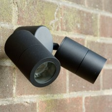 Compact Twin Outdoor Wall Spotlight  - Black - 240v GU10