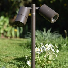 Elipta Pole Spot Duo - Rustic Brown - 12v Outdoor Spotlight