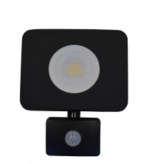 20w 240v Compact Floodlight With PIR Sensor - Black - IP64 - Warm White 1800lm - 3000K