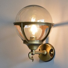 Globe Lantern - Solid Brass, Antique Lacquered Finish, Outdoor Wall Light