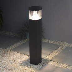 Elipta Polar Bollard Light - Square - Graphite - Warm White LED