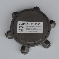 Elipta 6 Way IP68 Round Junction Box c/w M16 Cable Glands