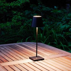 Elipta Rechargeable Battery Outdoor LED Table Lamp - Black