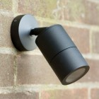 Compact Outdoor Wall Spotlight - Black - 12v MR16