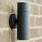 Compact Up & Down Outdoor Wall Light - Black Aluminium 240v GU10