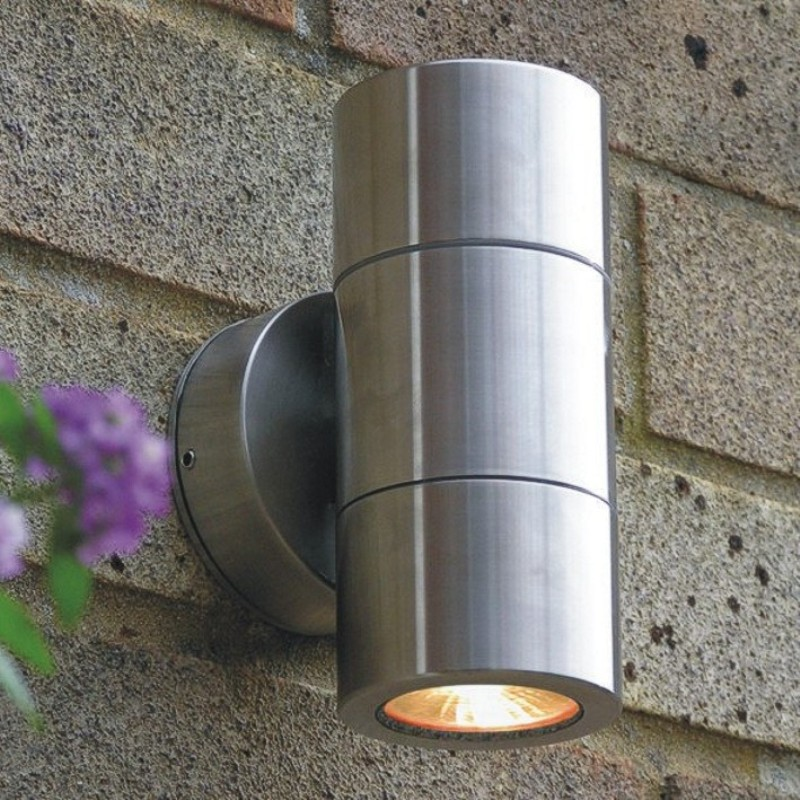 Compact low voltage stainless steel wall up & downlight for modern gardens