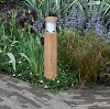 NIMBUS round teak garden bollard light with opal diffuser provides deck lighting or lighting for paths or terraces from a natural looking product