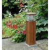 CIRRUS teak bollard light with glare louvres provides deck lighting or lighting for paths or terraces from a natural looking product