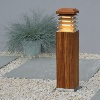 STRATUS NATURAL TEAK GARDEN BOLLARD LIGHT HAS ANGLED LOUVRES FOR GLARE-FREE DRIVE, TERRACE AND PATH LIGHTING