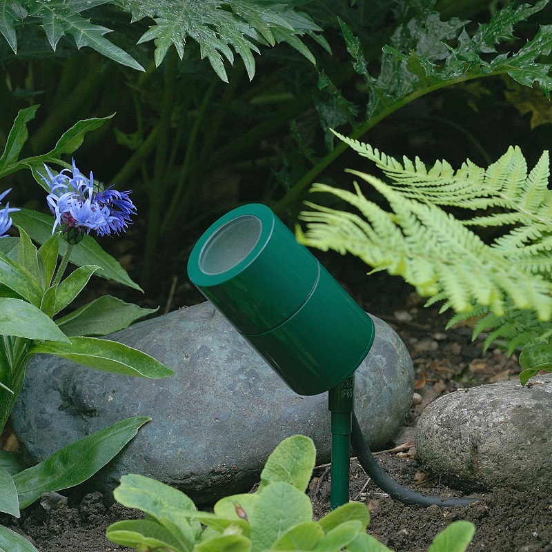 Compact 12v green spike mount exterior spotlight for gardens