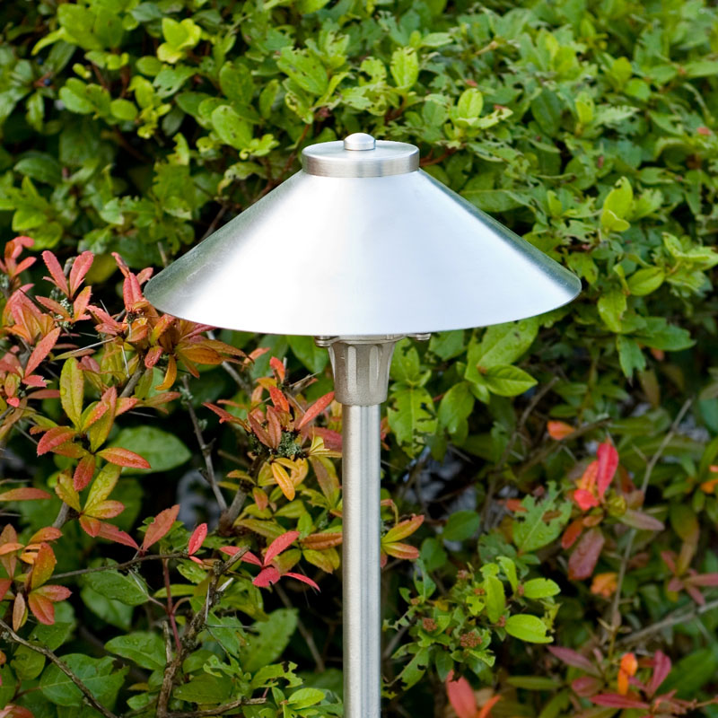 12v brushed chrome spreadlight for more modern garden settings: the brushed finish is subtle satin rather than shiny so it doesn't appear garish in the garden.