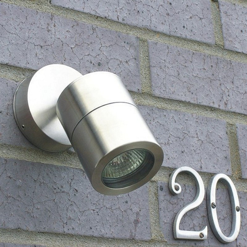Compact Outdoor Wall Spotlight - Stainless Steel - 240v GU10
