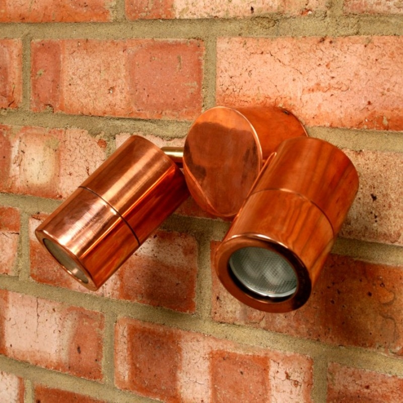 Compact Twin Outdoor Wall Spotlight - Copper - 240v GU10