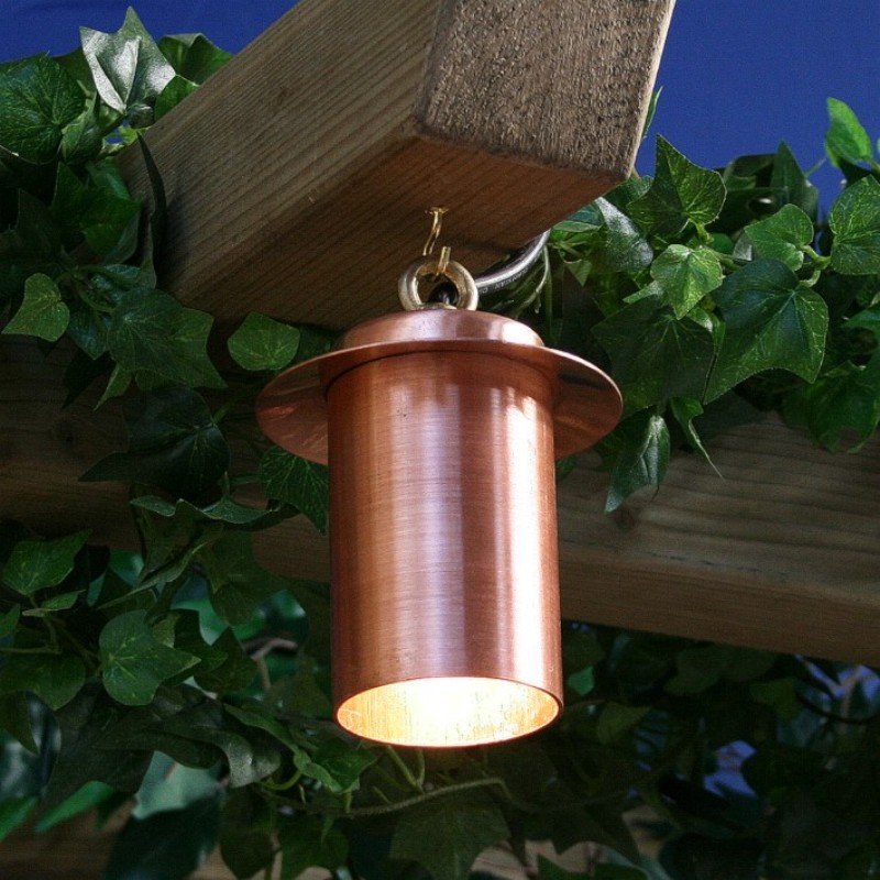 Pergolight copper hanging downlight for pergolas and garden structures