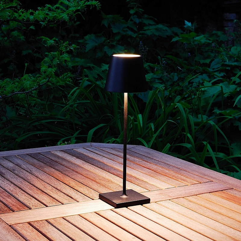 Rechargeable Battery Outdoor LED Table Lamp - Black