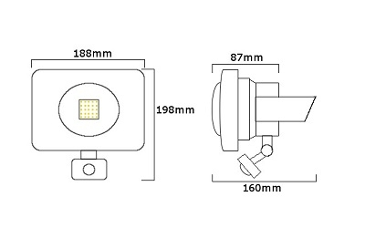 Compact Floodlight 240V 30w With PIR Sensor