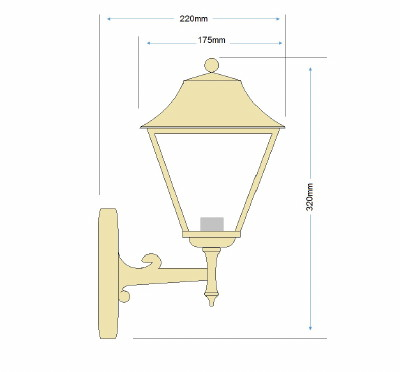 Coachlight Lantern Light - Solid Brass, Antique Lacquered Finish